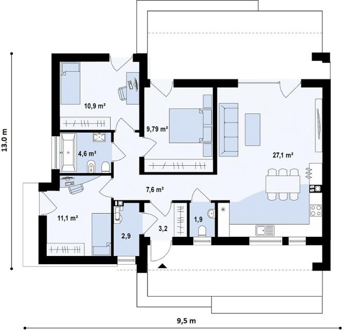 """Проект одноэтажного дома из СИП панелей """"Малибу-2"""" - планировка"""