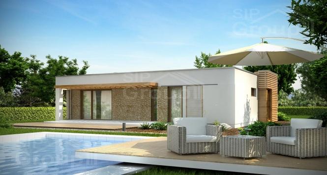 """Проект одноэтажного дома из СИП панелей с гаражом """"Малибу"""""""