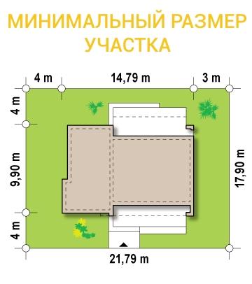 """Проект одноэтажного дома из СИП панелей с гаражом """"Малибу"""" - минимальный размер участка"""