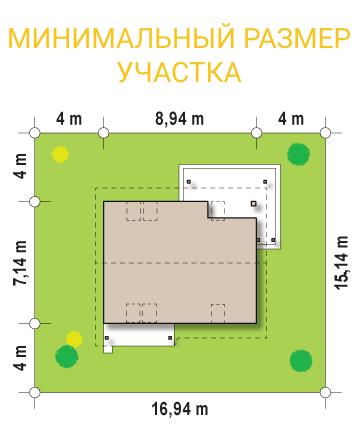 """Проект мансардного дома из СИП панелей """"Марика"""" - минимальный размер участка"""