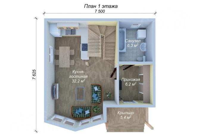 Проект дома из СИП панелей с мансардой - планировка