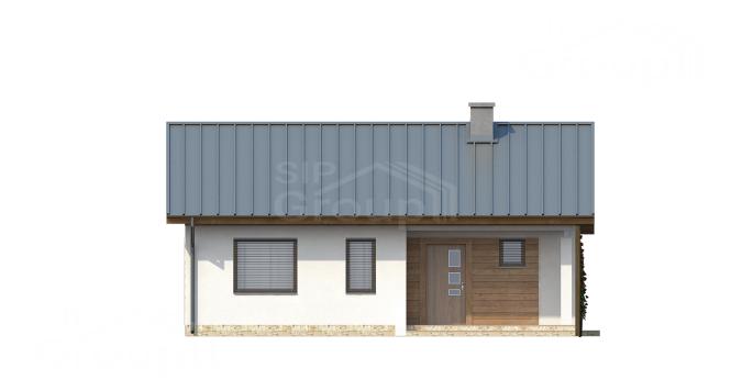 """Проект одноэтажного дома из СИП панелей """"Сказка"""" - фасад"""
