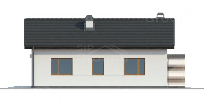 """Проект компактного одноэтажного дома из СИП панелей """"Солнечный"""" - фасад"""