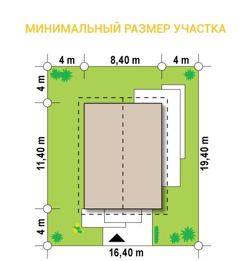 """Проект компактного одноэтажного дома из СИП панелей """"Солнечный"""" - минимальный размер участка"""