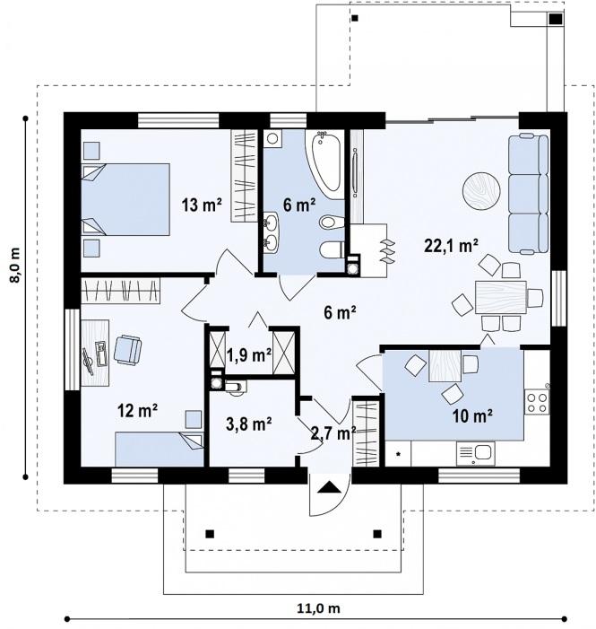 """Проект одноэтажного дома из СИП панелей с двускатной крышей """"Традиционный"""" - планировка"""