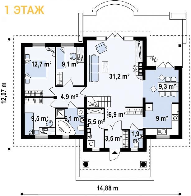 """Проект одноэтажного дома из СИП панелей """"Усадьба"""" - планировка 1 этажа"""