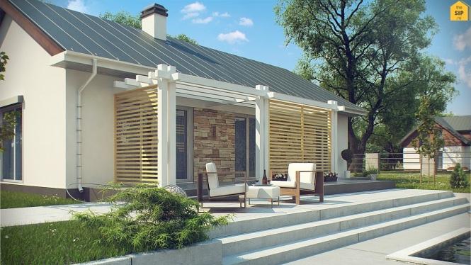 Проект одноэтажного дома из СИП панелей №95