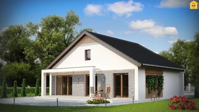 Проект одноэтажного дома из СИП панелей с террасой №95-М