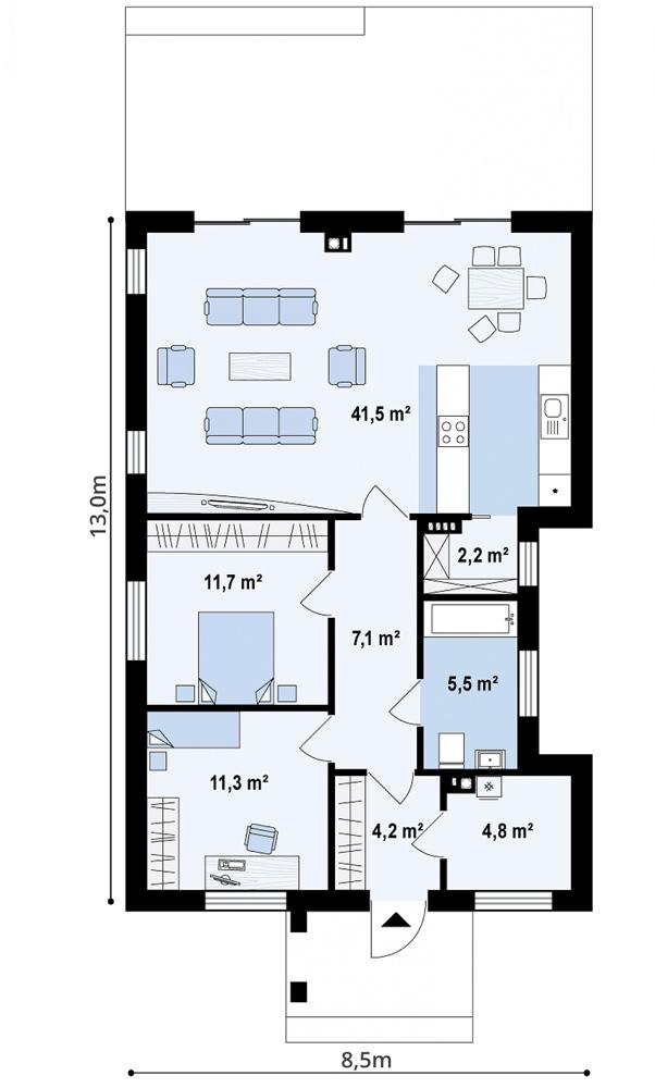 """Проект компактного одноэтажного дома из СИП панелей """"Аметист"""" - планировка"""