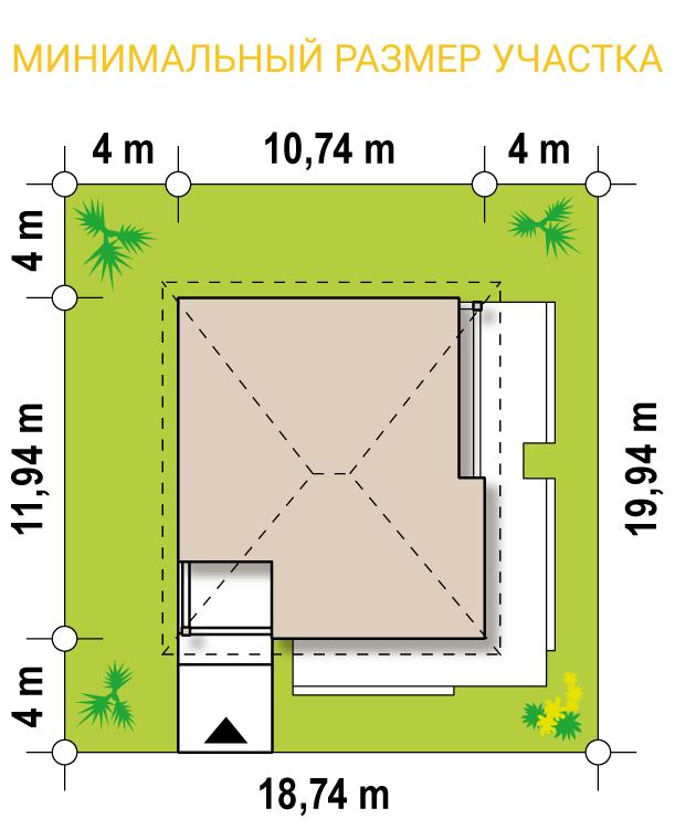 """Проект одноэтажного дома из СИП панелей """"Функциональный"""" - минимальный размер участка"""