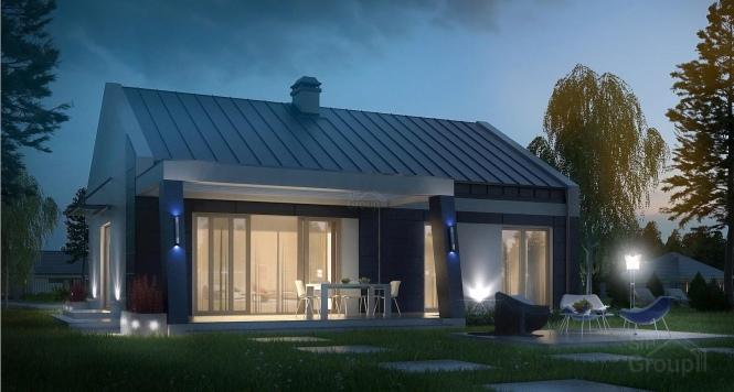 """Проект одноэтажного дома из СИП панелей с террасой """"Эдем"""""""