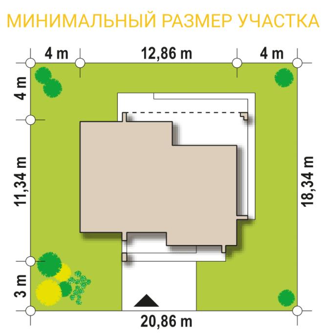 """Проект одноэтажного дома из СИП панелей """"Калифорния"""" - минимальный размер участка"""