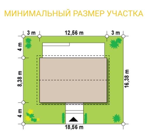"""Проект одноэтажного дома из СИП панелей """"Мечта"""" - минимальный размер участка"""