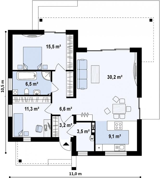 "Проект дома из СИП панелей в стиле хай-тек ""Модерн"" - планировка"