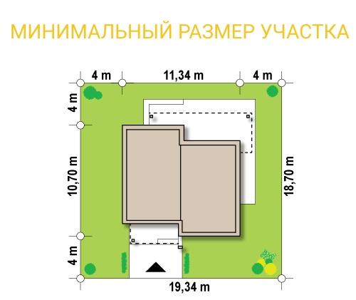 """Проект дома из СИП панелей в стиле хай-тек """"Модерн"""" - минимальный размер участка"""