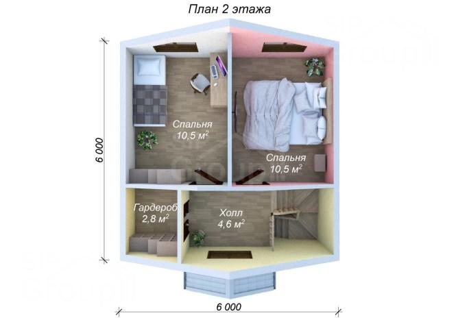 Дом за миллион рублей под ключ - планировка 2 этажа
