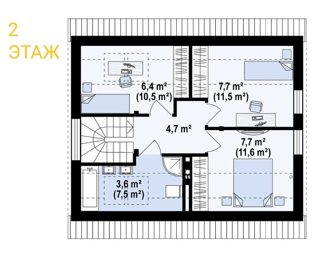 """Проект дома из СИП панелей """"Афродита"""" - планировка 2 этажа"""