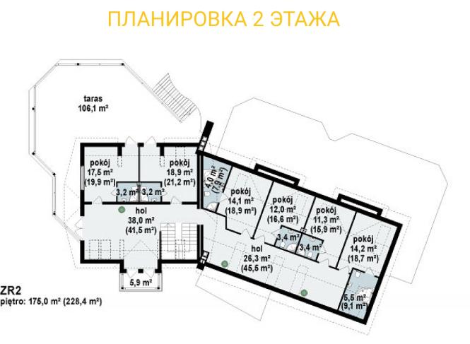 """Гостиница из СИП панелей - проект """"Альпы"""" - планировка 2ого этажа"""