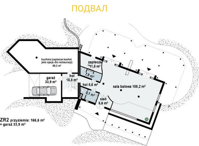 """Гостиница из СИП панелей - проект """"Альпы"""" - планировка подвала"""