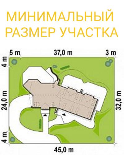 """Гостиница из СИП панелей - проект """"Альпы"""" - минимальный размер участка"""