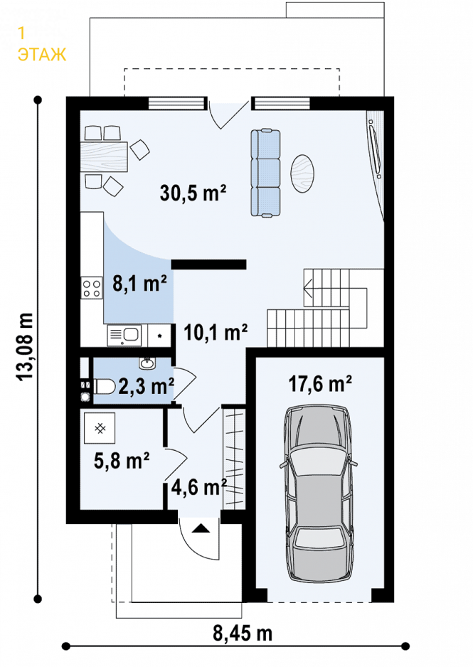 Дом на 2 семьи из СИП панелей - планировка 1 этажа