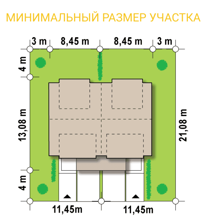 Дом на 2 семьи из СИП панелей - минимальный размер участка