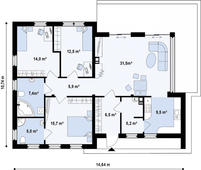 """Современный загородный дом из СИП панелей """"Линкольн"""" - планировка 1 этажа"""
