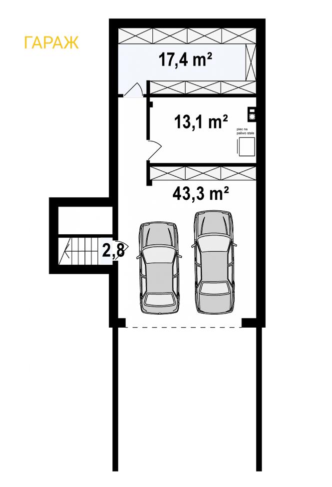 """Проект дома из СИП панелей """"Линкольн"""" - планировка гаража"""