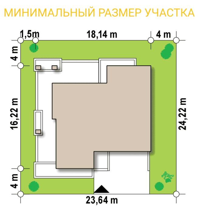 """Проект дома из СИП панелей """"Линкольн"""" - минимальный размер участка"""