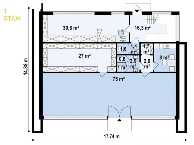 """Офис из СИП панелей """"Офиус"""" - планировка 1 этажа"""
