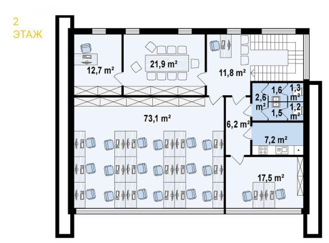 """Офис из СИП панелей """"Офиус"""" - планировка 2 этажа"""