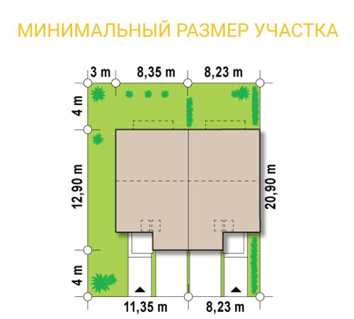 Таунхаус из СИП панелей - минимальный размер участка