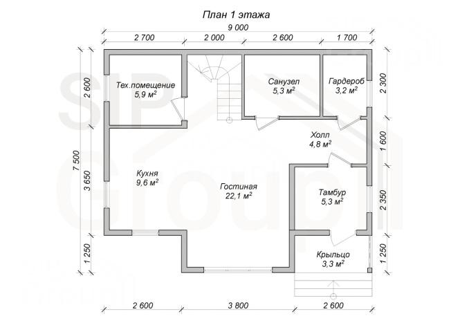"""Проект дома из СИП панелей """"Ноттингем"""" - планировка 1 этажа"""