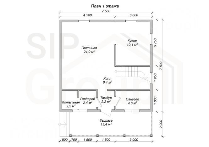 """Проект дома из СИП панелей """"Бристоль"""" - планировка 1 этажа"""