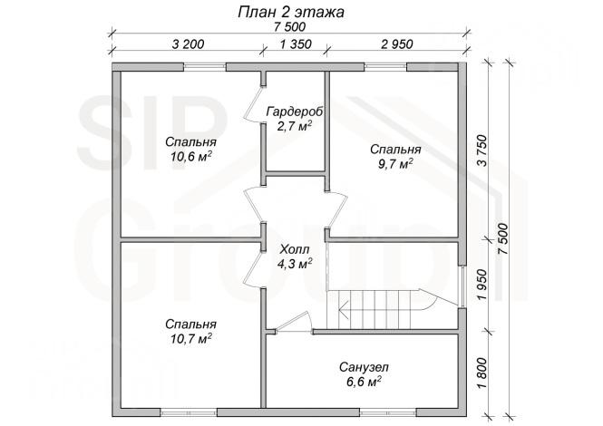 """Проект дома из СИП панелей """"Бристоль"""" - планировка 2 этажа"""