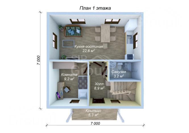 """Проект дома из СИП панелей """"Лидер"""" - планировка 1 этажа"""